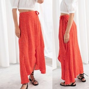 & Other Stories Asymmetrical Red Dot Wrap Skirt